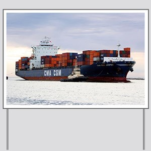 Container cargo ship and tug Yard Sign