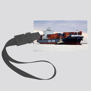 Container cargo ship and tug Large Luggage Tag