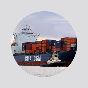 Container cargo ship and tug Button