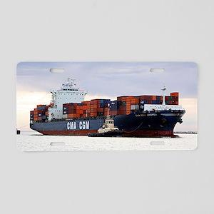 Container cargo ship and tu Aluminum License Plate