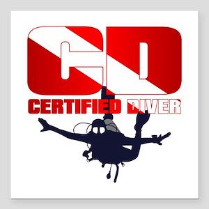 "CD Certified Diver Square Car Magnet 3"" x 3"""