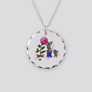 Christmas Mice Necklace Circle Charm