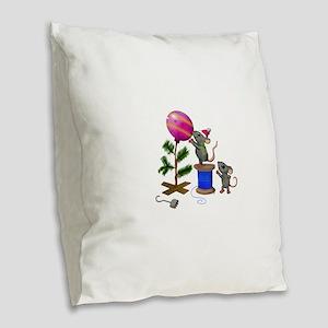Christmas Mice Burlap Throw Pillow