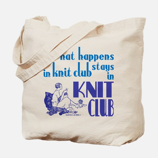 Knit club blue retro Tote Bag