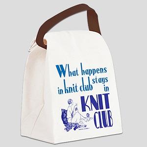 Knit club blue retro Canvas Lunch Bag