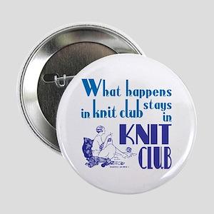 "Knit club blue retro 2.25"" Button"