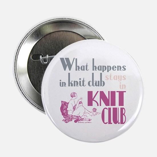 "Knit club pink grey 2.25"" Button"