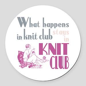 Knit club pink grey Round Car Magnet