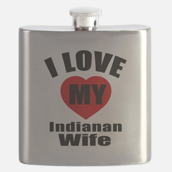 I Love My Indianan Wife Flask