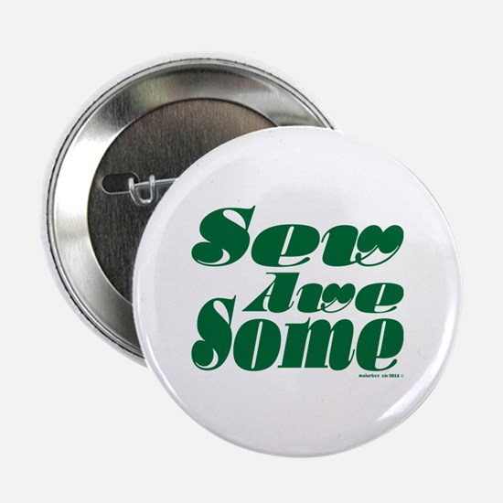 """Swirly Sew Awesome! Green 2.25"""" Button"""