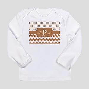 Caramel Chevron Dot Monogram Long Sleeve T-Shirt