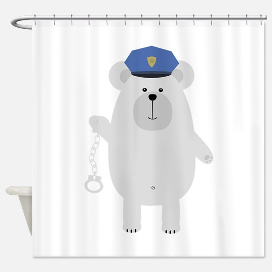 Polar bear with handcuffs Shower Curtain