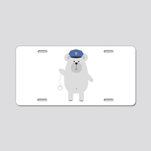 Polar bear with handcuffs Aluminum License Plate