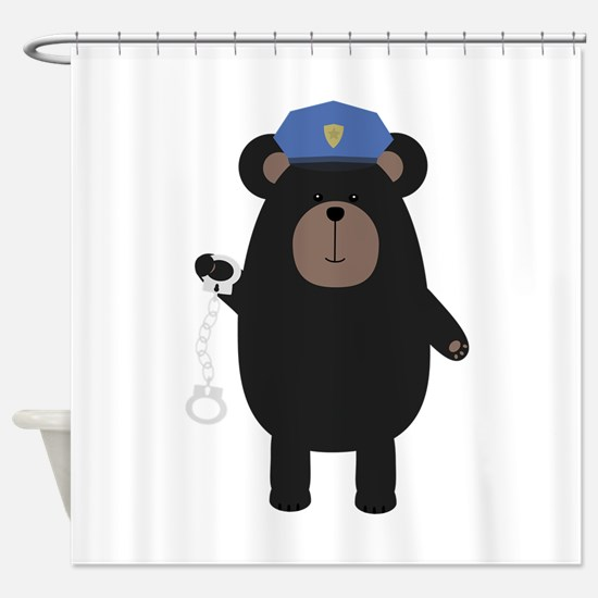 Police Black Bear and handcuffs Shower Curtain