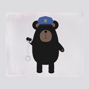 Police Black Bear and handcuffs Throw Blanket