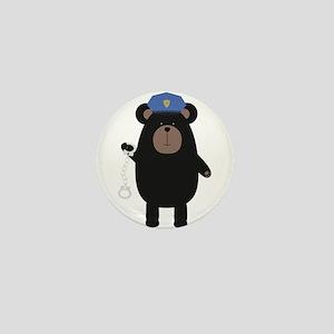 Police Black Bear and handcuffs Mini Button