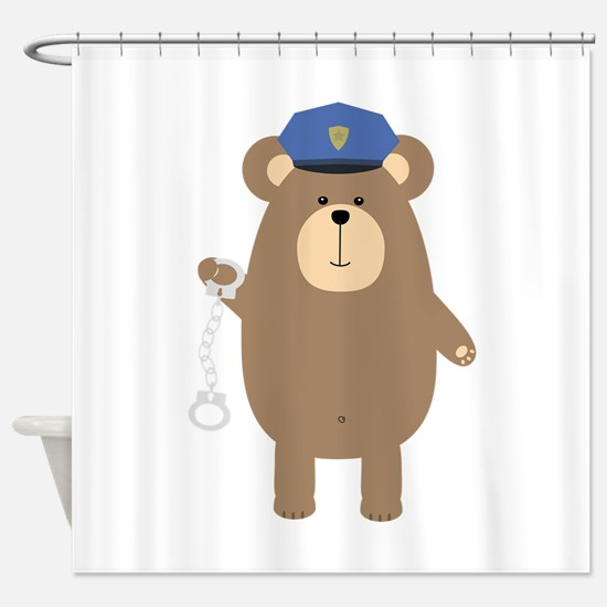 Police Bear with handcuffs Shower Curtain