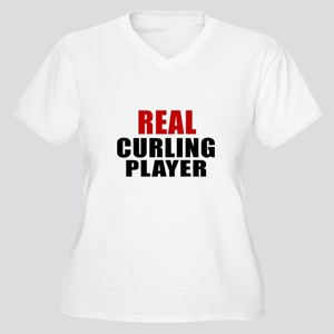 Real Curling Women's Plus Size V-Neck T-Shirt