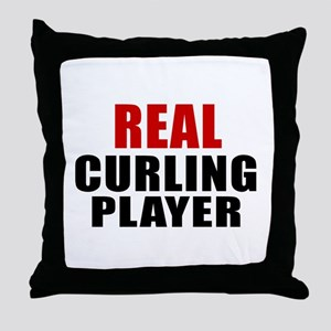 Real Curling Throw Pillow