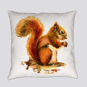 Watercolor Red Squirrel Animal Art Everyday Pillow
