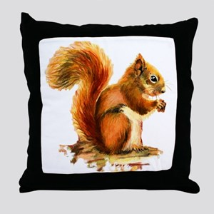 Watercolor Red Squirrel Animal Art Throw Pillow