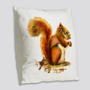 Watercolor Red Squirrel Animal Burlap Throw Pillow