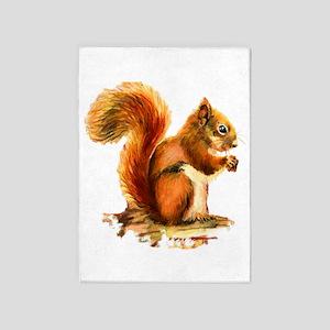 Watercolor Red Squirrel Animal Art 5'x7'ar