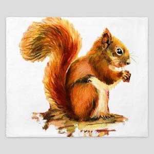 Watercolor Red Squirrel Animal Art King Duvet