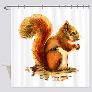 Watercolor Red Squirrel Animal Art Shower Curtain