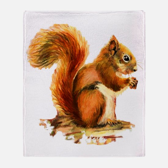 Watercolor Red Squirrel Animal Art Throw Blanket