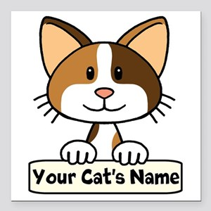 "Personalized Calico Cat Square Car Magnet 3"" x 3"""