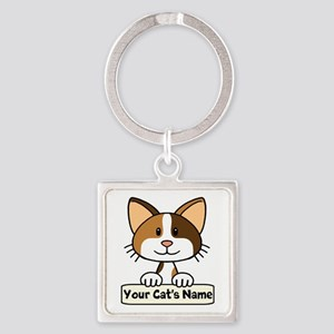 Personalized Calico Cat Square Keychain