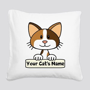 Personalized Calico Cat Square Canvas Pillow