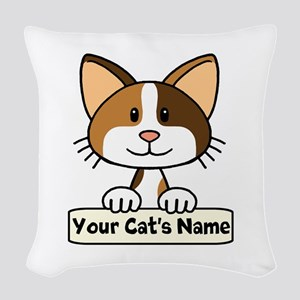 Personalized Calico Cat Woven Throw Pillow