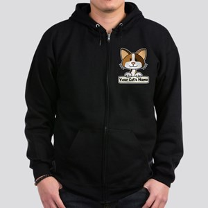 Personalized Calico Cat Zip Hoodie (dark)