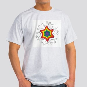 Rainbow & Doves Jewish Start Ash Grey T-Shirt