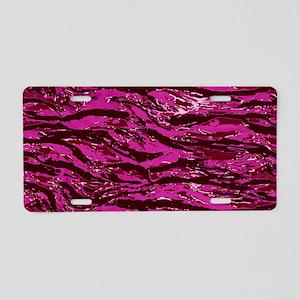 Pink Striped Camo Aluminum License Plate