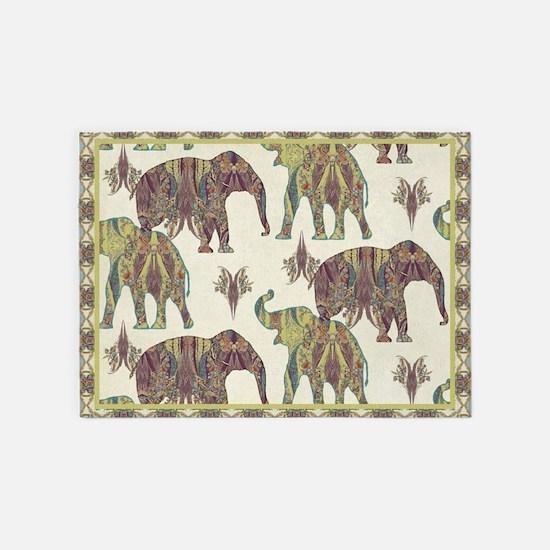 Elephant Kashmir Paisley Vintage Tr 5'x7'Area Rug