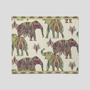 Elephant Kashmir Paisley Vintage Tri Throw Blanket