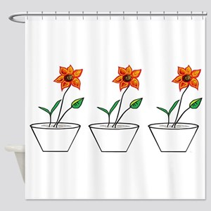 Three Flowers in a Row Shower Curtain