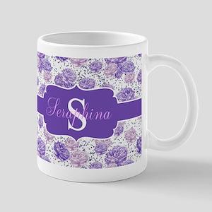 Purple Flower Custom Name Mugs