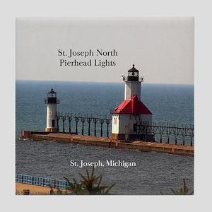 St. Joseph North Pierhead Lights Tile Coaster