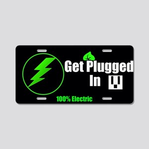Get Plugged In Aluminum License Plate