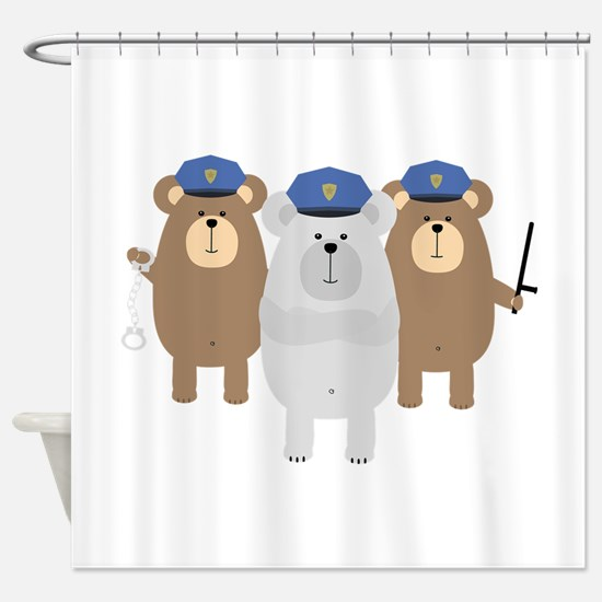 Bears Police Officer Squad Shower Curtain