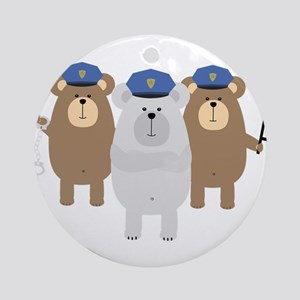 Bears Police Officer Squad Round Ornament