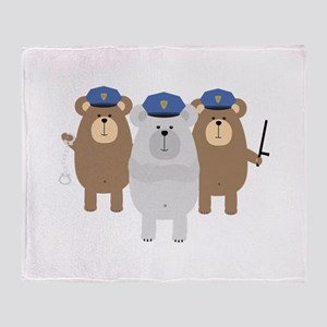 Bears Police Officer Squad Throw Blanket