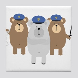 Bears Police Officer Squad Tile Coaster
