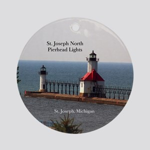 St. Joseph North Pierhead Lights Round Ornament