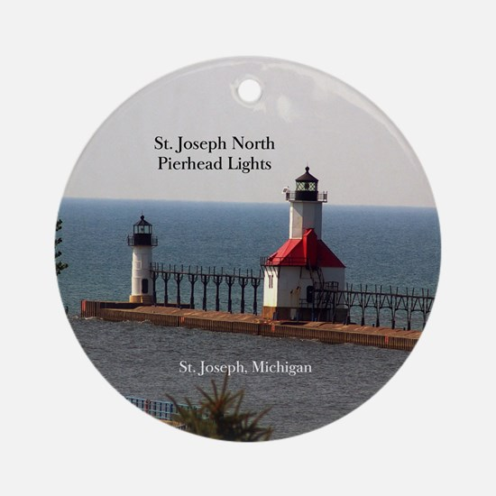 St. Joseph North Pierhead Lights Round Ornament