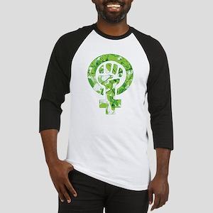 Feminist Symbol Green Leaves Baseball Jersey